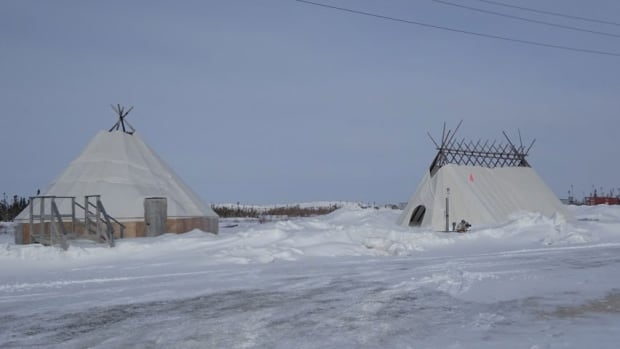 Wigwams at the Victor Mine
