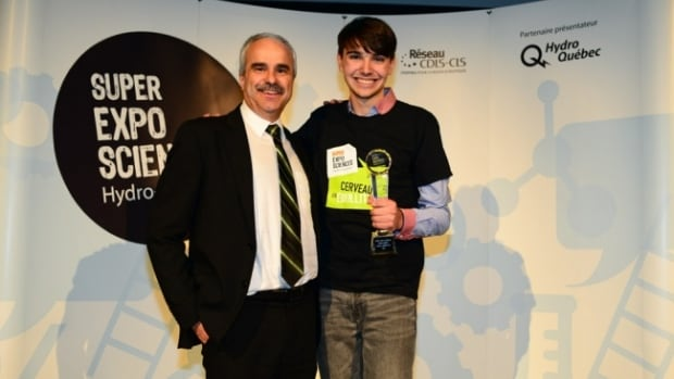 Olivier Cloutier collected his first-place Hydro-Québec science expo prize in mid-April.