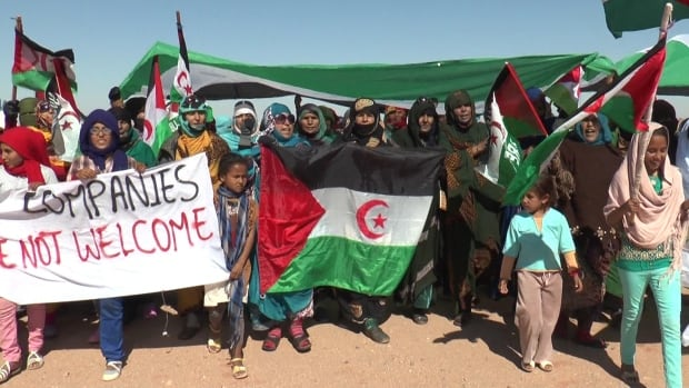 Sahrawi women in a refugee camp protest companies that extract or purchase mineral resources from their homeland, the Moroccan-occupied part of Western Sahara.