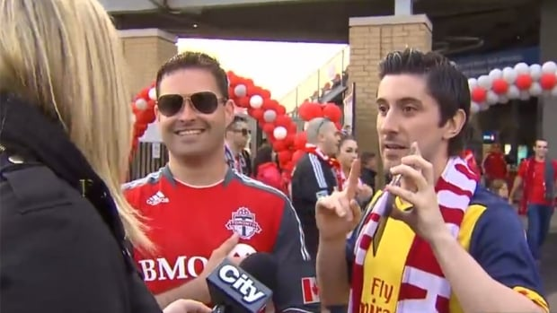 CityNews reporter Shauna Hunt confronts Toronto FC fans who obstinately defend another man who yelled a popular vulgar phrase during an on-air interview.