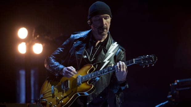 U2 guitarist The Edge was front and centre during the Irish band's first concert, in Vancouver on Thursday night, of its world tour. During the gig, the 53-year-old musician tumbled off the stage.