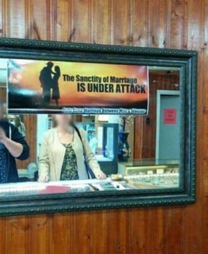 Anti-gay marriage sign posted in Today's Jewellers