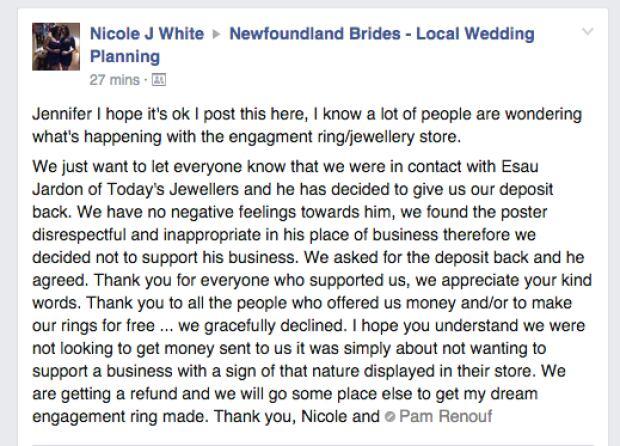 Nicole White engagement ring deposit Facebook post