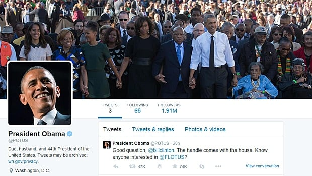 "For the account's profile header, Obama chose an image of his family commemorating the ""Bloody Sunday"" march of 1965 in Alabama."