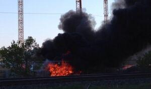 Fire at stadium site