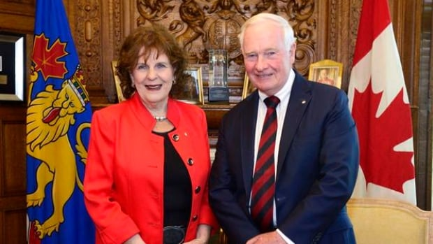 Lois Mitchell, Alberta's new Lieutenant Governor, stands with with Canada's Gov. Gen. David Johnston.