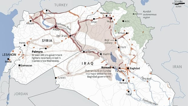 The region that ISIS controls, as of May 25, 2015.