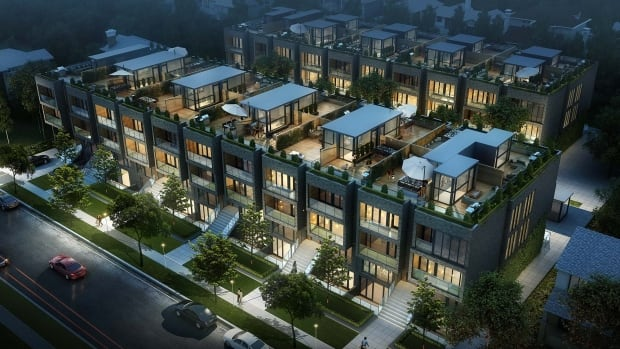 An artist's rendition of a proposed four-storey, 80-unit development in the Yonge and Eglinton area of Toronto. Some residents say it's an example of 'density creep' and will lower their property values.