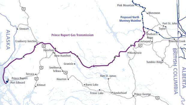 According to the project website, the 900-kilometre pipeline is expected to deliver natural gas from Hudson's Hope to the proposed Pacific NorthWest LNG facility on Lelu Island south of Prince Rupert.