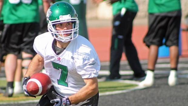Saskatchewan Roughriders receiver Weston Dressler at training camp in Saskatoon.