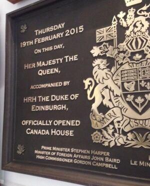 Canada House plaque
