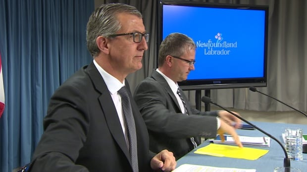 Newfoundland and Labrador Premier Paul Davis, pictured here with Minister Darin King, announced Monday the provincial election would take place Monday, Nov. 30.