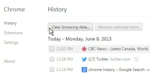 Chrome History screen