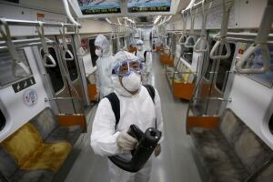 HEALTH-MERS SOUTH KOREA June 9 2015 Goyang subway cleaning