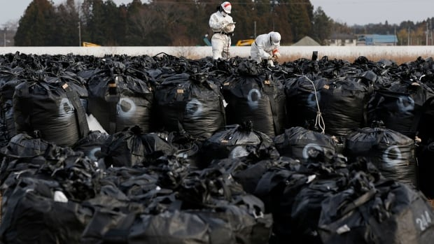 Decontamination workers wearing protective suits and masks, work on big black plastic bags containing radiated soil, leaves and debris from the decontamination operation in Tomioka town, Fukushima prefecture, near Tokyo Electric Power Co's Fukushima Daiichi nuclear power plant on Feb. 24, 2015.