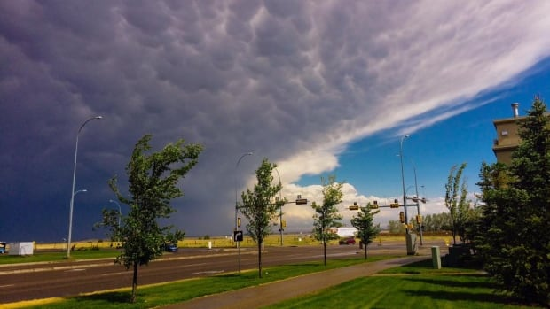 A storm front rolls into Medicine Hat earlier on Friday.