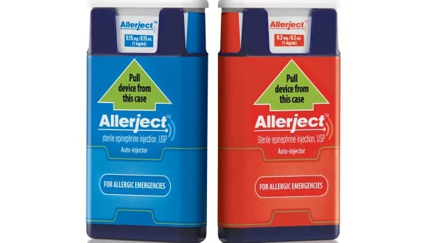 Allerject products with lot numbers 2857508, 2857505 and DIN 02382059 are being recalled by Health Canada. The pre-filled, single-use auto-injector of 0.15 milligrams (left) is the product affected by the recall.