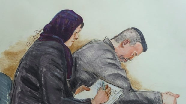 John Nuttall and Amanda Korody are seen in an artist's sketch during their trial in Vancouver on Friday, May 29, 2015.