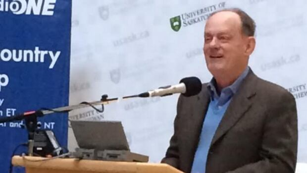Rex Murphy in Saskatoon at the 50th anniversary of Cross Country Checkup.