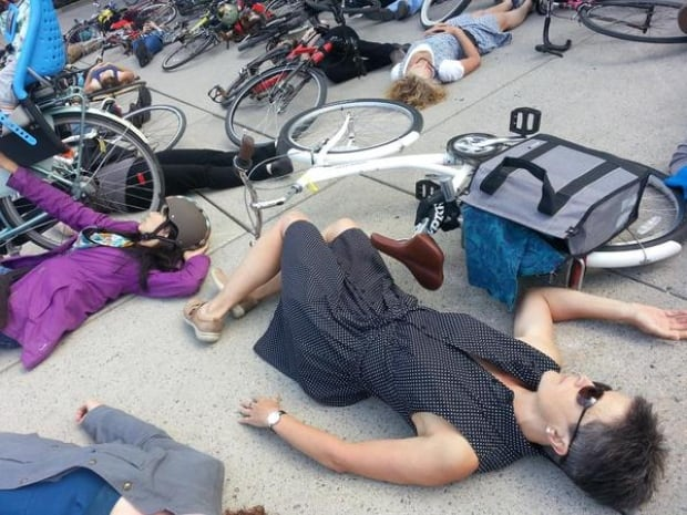 Toronto cycling protest die-in