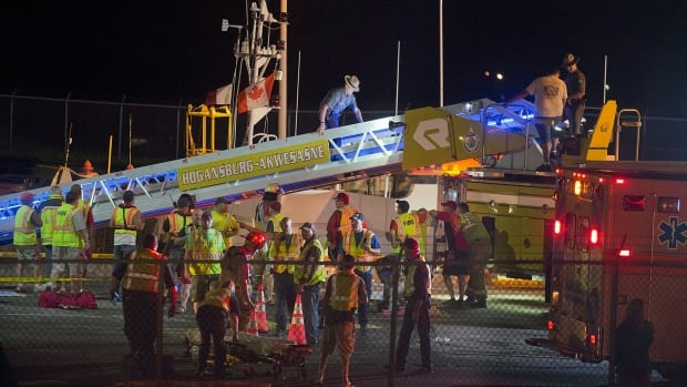 The U.S. Coast Guard says the Saint Laurent was headed from Montreal to Toronto when it hit a wall in the Eisenhower Lock in Massena, near the Canadian border.