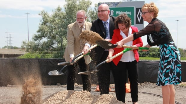 Originally announced in 2013, the province is moving ahead with the widening of Highway 401 from six to 10 lanes between Hespeler Road and Highway 8. Pictured above from L to R: Cambridge mayor Doug Craig, Ontario transportation minister Steven Del Duca, Cambridge MPP Kathryn McGarry, Kitchener Centre MPP Daiene Vernile.