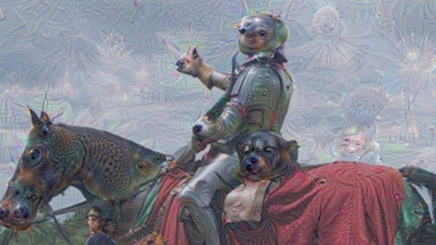 Researchers asked Google's artificial neutral networks to interpret both simple images and random noise as specific things. Then, they let the machine 'dream' up anything based on its prior knowledge. Images like this one were the result.