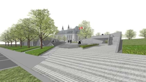 This is the new rendering of the smaller and shorter victims of communism memorial. It is eight metres tall and only takes up 37 per cent of the site, not 60 per cent as an earlier plan indicated.