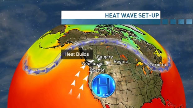 The core of B.C.'s heat is coming from an air mass moving northward from the southwestern U.S.