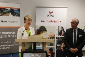 Lizette Parsons Bell announces kwantlen deal with kinder morgan
