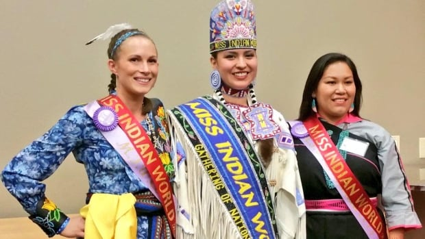 Baillie Redfern, on left, is the first-ever Métis competitor at the Miss Indian World Pageant.