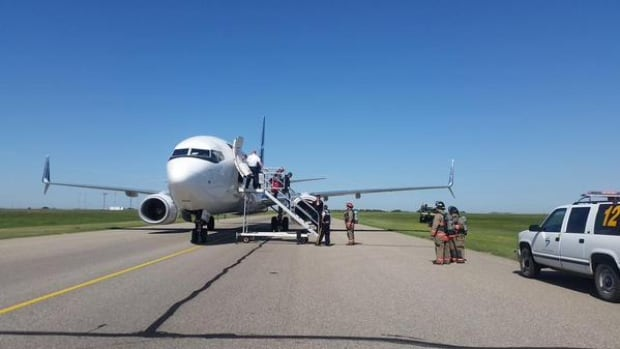 This WestJet flight from Halifax to Edmonton was diverted to Saskatoon because of a bomb threat on Saturday.