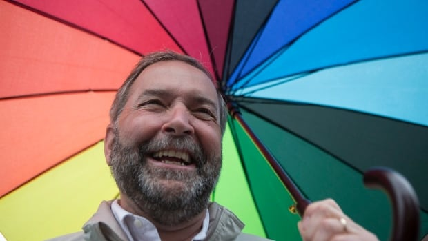 Based on the polls, NDP Leader Thomas Mulcair, pictured before the start of Toronto Pride 2015 parade, has much to smile about.
