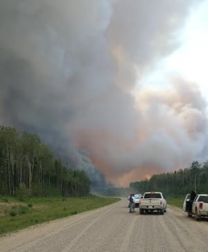 Fire scene near Montreal Lake