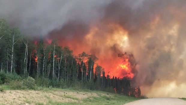A forest was ablaze off Highway 969 near Montreal Lake in Saskatchewan on Monday. More than 100 fires burned in the province as of Wednesday. Environment Canada warned Manitobans a second wave of smoke was on its way from the fires.