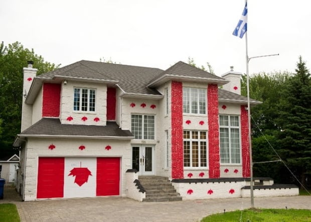 Some homeowners get very flag happy for canada day or all Canadian houses
