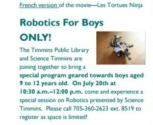 Robotics for boys only advertisement