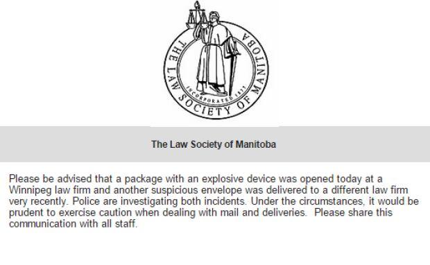 Winnipeg law society warning