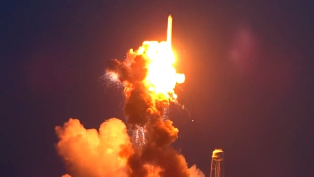An unmanned Antares rocket blows up seconds after liftoff from a commercial launch pad in Virginia last October. The spacecraft was on a mission to bring supplies to the International Space Station — the first of three such flights that went awry in the last year.