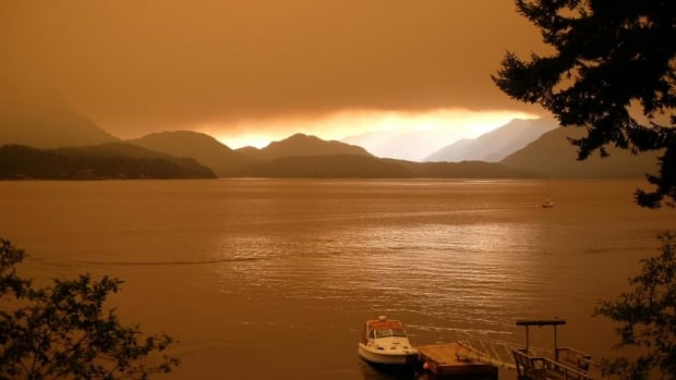Smoke from forest fires can be seen hanging over the Howe Sound.