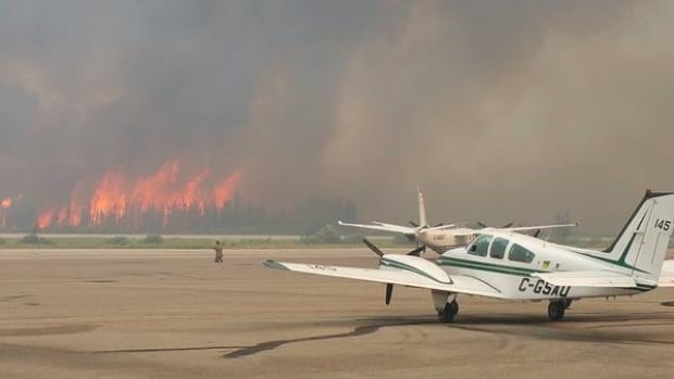 Forest fires at the La Ronge airport