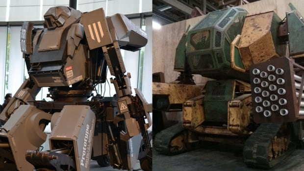 Both Suidobashi Heavy Industry's Kuratas robot, left, and MegaBots Inc.'s Mark II, right, are piloted by humans from within a cockpit.