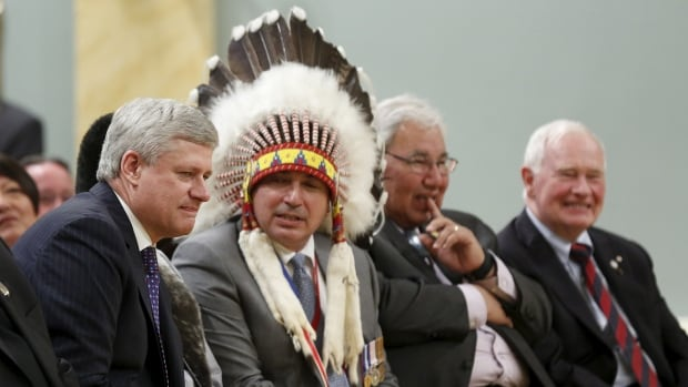 Canada's Prime Minister Stephen Harper, Assembly of First Nations National Chief Perry Bellegarde, Justice Murray Sinclair, and Governor General David Johnston attend the Truth and Reconciliation Commission of Canada's closing ceremony at Rideau Hall in Ottawa June 3, 2015.