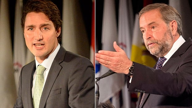 The latest polls suggest Liberal Leader Justin Trudeau, left, is losing ground to NDP Leader Tom Mulcair, particularly in Atlantic Canada.