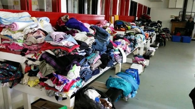 Clothes collected at Beardy's evacuation centre