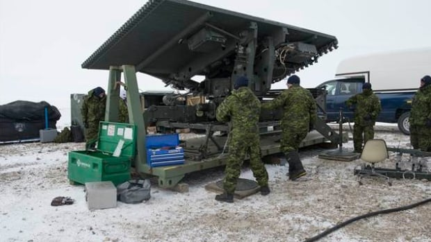 A military mobile radar unit in Resolute Bay, Nunavut. The government is terminating its contract with Thales Canada Ltd., which was to supply new radar units to support CF-18 fighter jet squadrons