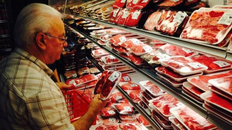 Man buying meat at a grocery store