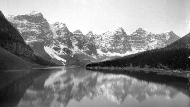 """Glacier-fed Moraine Lake, photographed in 1902. Does this look like """"Western Canada"""" to you?"""