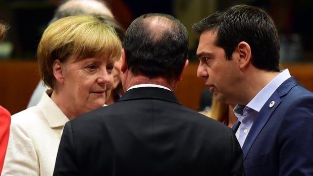 German Chancellor Angela Merkel, French President Francois Hollande, and Greek Prime Minister Alexis Tsipras confer prior to the start of the Eurozone summit in Brussels on Sunday. Leaders, stuck on key issues, are negotiating past the midnight deadline.