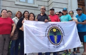 Members of Cree Nation of Waswinipi went to Quebec to protest signing